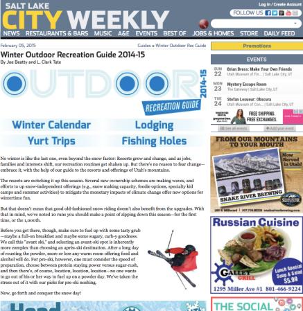 NEWSRESTAURANTS & BARSMUSICA&EEVENTSBEST OFJOBS & HOMESSTOREDAILY FEED February 05, 2015 Guides » Winter Outdoor Rec Guide Winter Outdoor Recreation Guide 2014-15
